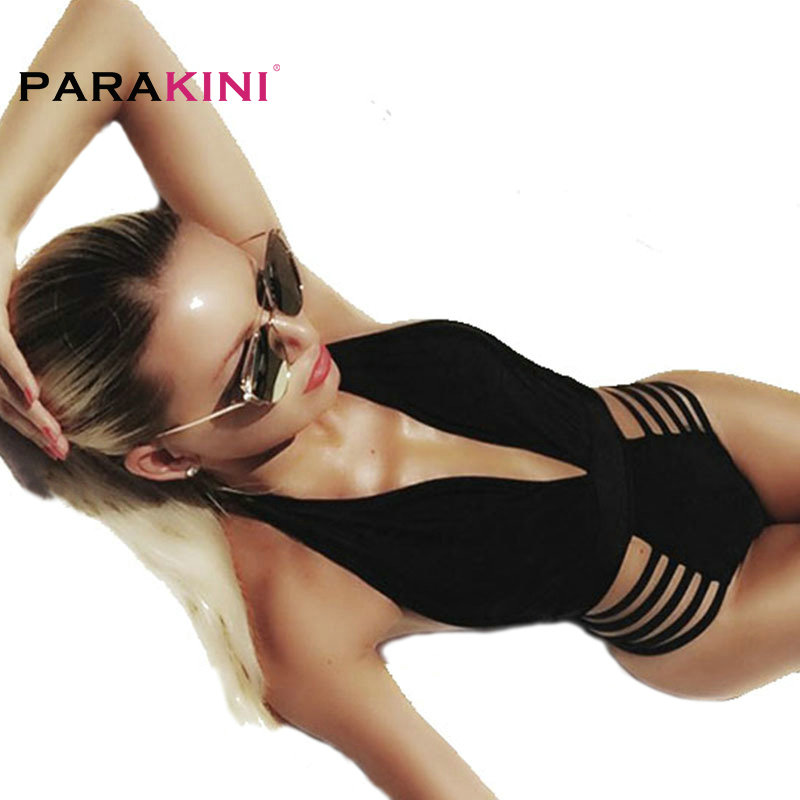 PARAKINI 2017 New Sexy Deep V Neck One Piece Swimsuit Women Bathing Suit Swim Wear Swimwear High Cut Brazilian Monokini Swimsuit one piece swimsuits trikinis high cut thong swimsuit sexy strappy monokini swim suits high quality denim women s sports swimwear