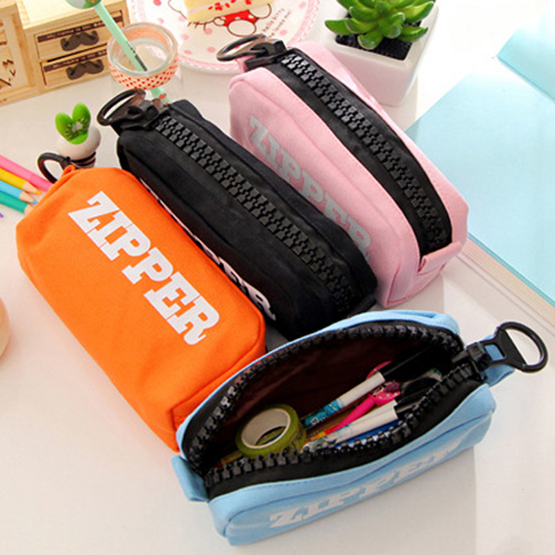 Korean Big Zipper Pencil Bag Large Capacity Canvas Pencil Case School Stationery Pen Storage Box Material Escolar Supplies pencil case korean stationery creative simple large capacity pu zipper pencil case cute student supplies high quality waterproof