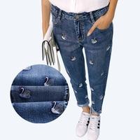 Refeeldeer Embroidery Jeans Women 2017 Spring High Waist Mom Jeans Female American Apparel Boyfriend Pants Regular
