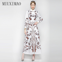 HIGH QUALITY New 2018 Fashion Women's Long Sleeve Vintage Turn Down Collar Tree&Brid Print Dress Brand Long Dress