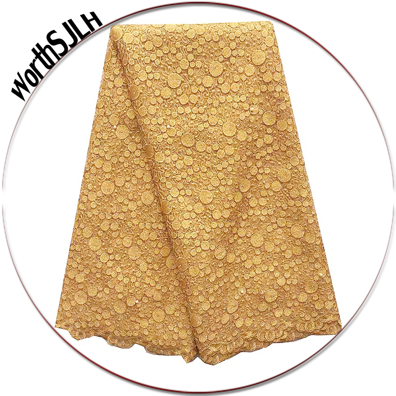 New Arrivals Beaded Guipure Lace Fabric Swiss Yellow Gold Weddings Tulle Net African Lace Fabric 2018