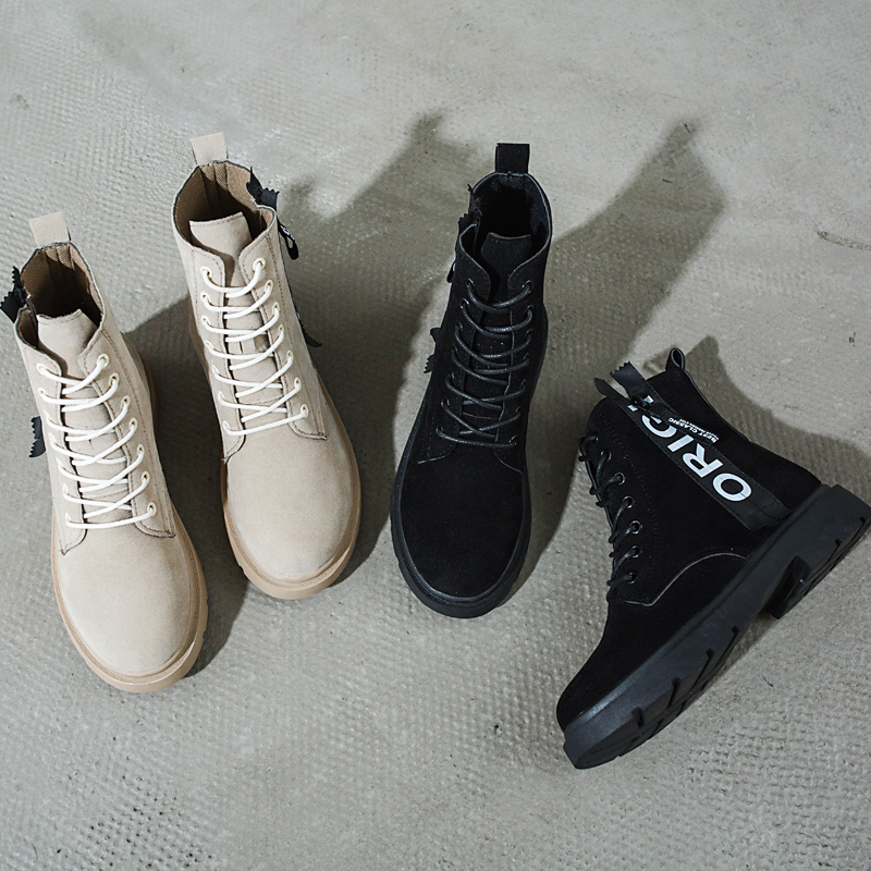 2018 new flat casual fashion letters Martin boots female British wind strap. 1