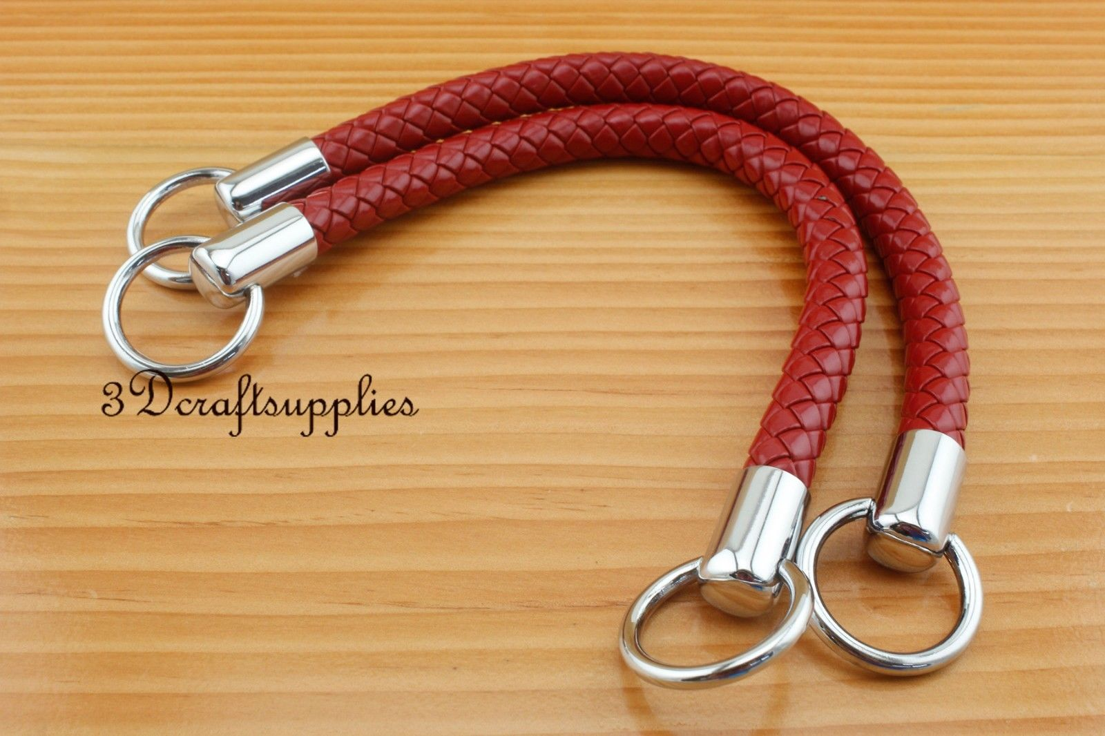 Crochet PU bag strap leather handles purse handles a pair red 12 inch 30.5 cm K9 ...