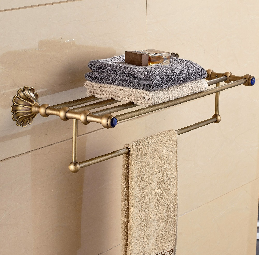 Luxury Antique Brass Towel Shelf Bathroom Towel Holder Wall Mounted Towel Bar aluminum wall mounted square antique brass bath towel rack active bathroom towel holder double towel shelf bathroom accessories