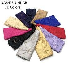 Conjunto de hiyabs musulmanes a la moda, bufanda de algodón con estampado de barrena para mujer, foulard de viscosa, bandana con borlas para construcción, 10 Uds.