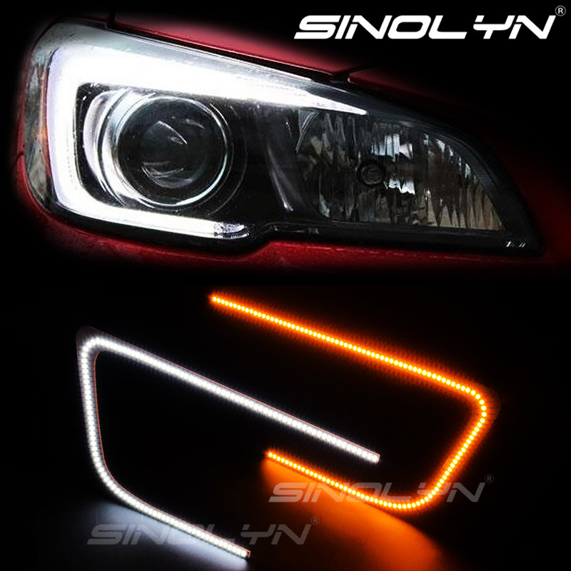 For 2015-2018 Subaru WRX STI Headlight DRL Switchback Dual-Color LED Circuit Board C-Rings C-Light Turn Signal Lamp Retrofit excellent no error 1157 bay15d dual color switchback led drl parking front turn signal light for hummer h1 2006 led light