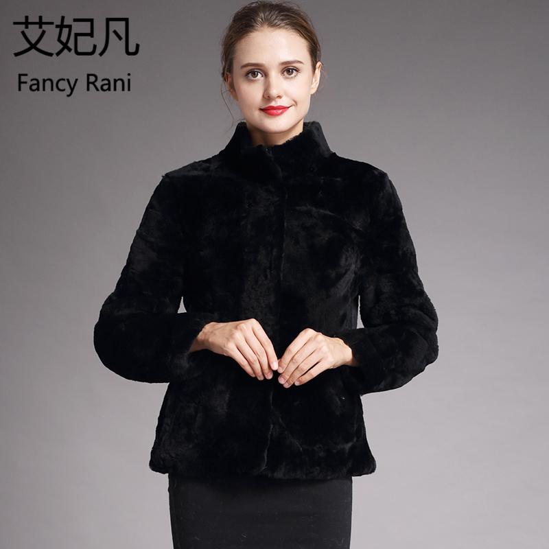 Real Fur Genuine Sheepskin Coat Black Women Winter Fashion Wool Coat Female Warm Sheep Shearing Jacket Mandarin Collar Outercoat