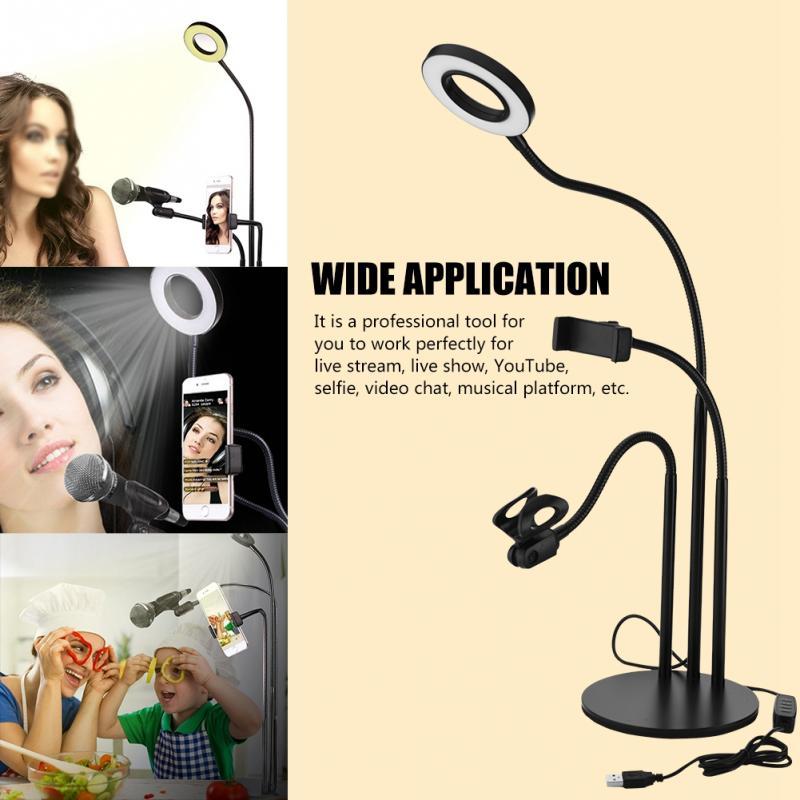 3-in-1 360 Grad Langen Arm Flexible Broadcast Stehen Halterung Mit Dimmbare Led Füllen Licht Desktop Licht Für Live-stream Hochwertige Materialien