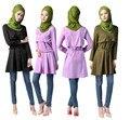 Женская мода Леди Длинным Рукавом Свободную Рубашку Мусульманин Короткое Платье Исламской Maxi Одежда Short Kaftan Jibab Абая