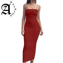 Ameision Women Summer Black White Red Sleeveless Basic Party Night Long DressSexy Spaghetti Strap Bodycon Midi Dress