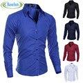 Модные Мужские Роскошные Стильные Вскользь Рубашки С Длинным Рукавом Slim Fit Рубашки