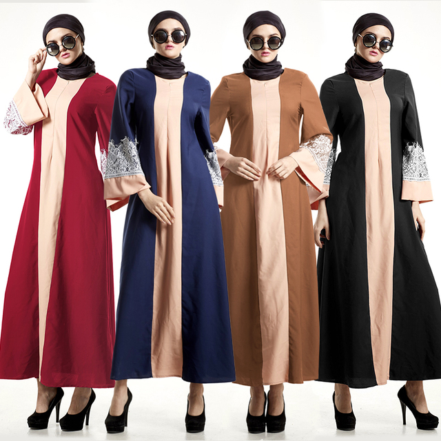 Muslim Abaya Islamic Patchwork Lace Clothes For Women Muslim Long Sleeve Maxi Dress Women Muslim Dress