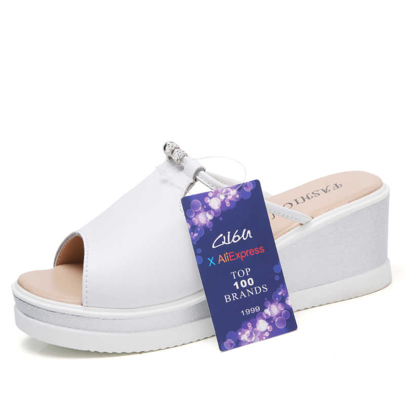 O16U נשים נעל סנדלי עקבים טריזים פלטפורמת בוהן ציוץ עור קריסטל אלגנטיות גבירותיי פרדות כפכפים קיץ נעליים