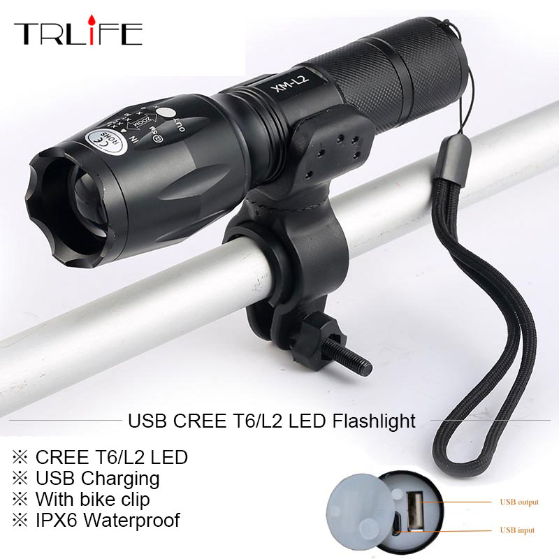 Newest USB 8000 Lumens Flashlight LED CREE XM-T6 L2 Front Torch Bicycle Light lamp with USB Charger+Bike Clip powerful led flashlight bicycle light 2000 lumens 3 mode cree q5 led bike light front torch waterproof xp 6 torch holder zk93