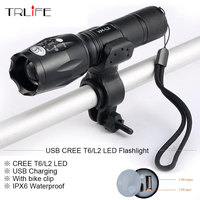Newest USB 8000 Lumens Flashlight LED CREE XM T6 L2 Front Torch Bicycle Light Lamp With