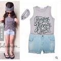 Girls loose-fitting children's set sleeveless T-shirt +Bull-puncher knickers+ bandage on his head summer children's clothing