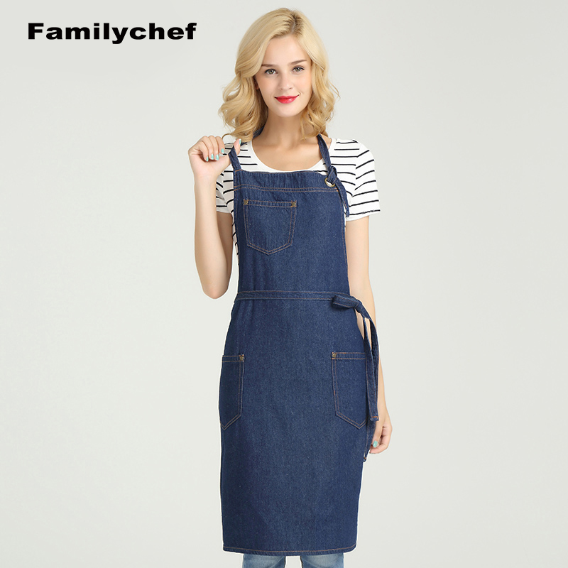 Aprons for woman Denim apron cotton home kitchen adult long hanging neck apron waist fashion cafe apron cotton working apron