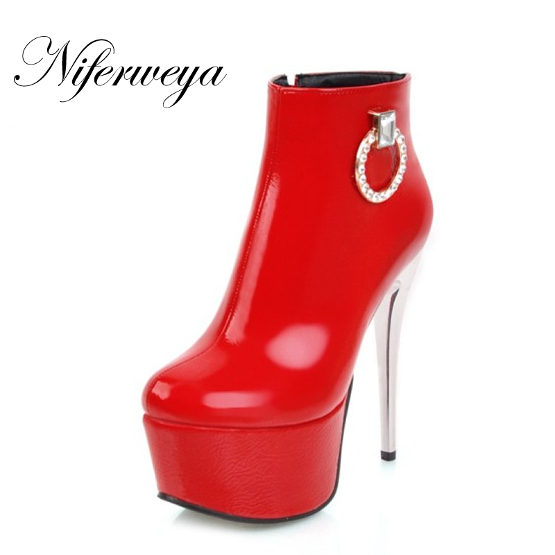 Sexy 14 cm spring/autumn platform women high heel shoes Big size 33-48 Round Toe thin heel red zipper Ankle boots zapatos mujer 2018 new plus big size 33 44 black red peep toe fashion sexy high heel platform spring autumn lady shoes women pumps d1103