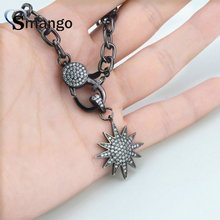 3Pieces,  Women Fashion The Star Shape CZ Prong Setting Necklace,Black Plating Color