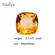 2.7-2.9 ct Carat 9mm Natural Yellow Citrine Crystal Section Brazil Square Beads Loose stone Fit For DIY Fine Jewelry Making