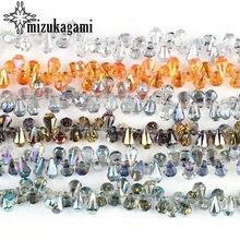 10 pièces/lot 9*14mm cristal côté trou goutte d'eau forme larme perle de verre pour bricolage bijoux collier faisant trouver des accessoires