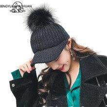 BINGYUANHAOXUAN Korean Hair ball Knitted wool cap Autumn hat women Keep warm Curved eaves Raccoon fur Peaked Baseball Caps
