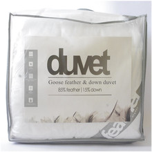 Duvet filled with white Goose feather & down tog value 7.5 for spring and autumn 250 gsm UK single size 4.5' * 6.5' wholesale