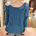 2016 Spring Strapless Sweater Loose Sexy Women Basic Pullover Sweaters female slit neckline thickening sweater top thread slim