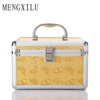 MENGXILU Fashion Flower Printed Women Cosmetic Box Designer High Quality Portable PU Cosmetic Bag Large Capacity