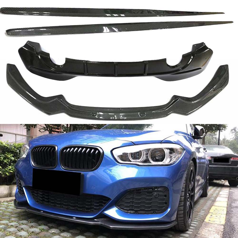 For BMW M125i M140i M135i LCI Body Kit Real Carbon Fibre Front Lip Side Skirts Rear Diffuser Spoiler / M- bumper 2016-2018 image