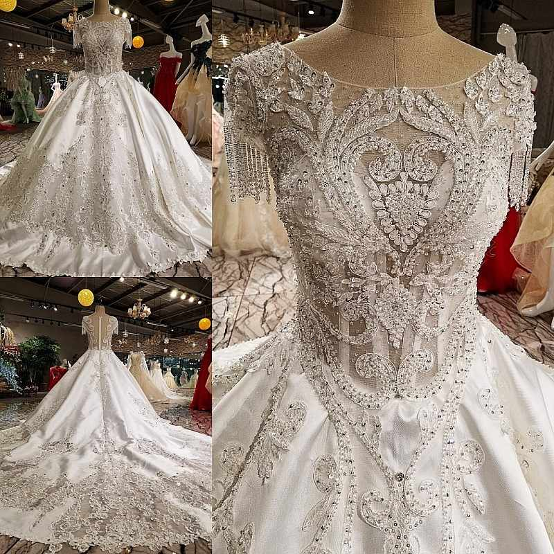 2018 Vestido De Noiva White High-end Fashion Ball Gwon Wedding Dresses Pearls Sequined Luxury Princess Bridal Dress