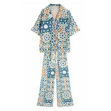 2-piece Set Women Loose Short Sleeve Shirt + Pants Baggy Casual Suit Spring Vintage Female Fashion