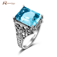 Unique Design Charm Vintage Aquamarine Ring Bague Pure Joyas De Plata Wedding 925 Sterling Silver Rings