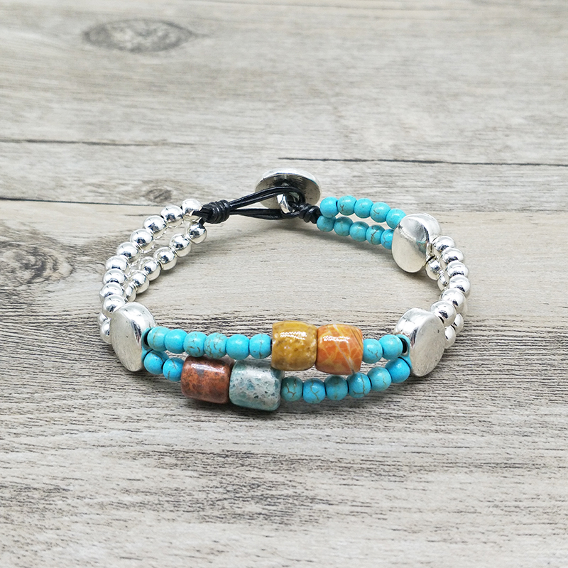 Vintage Silver Alloy Bead Bracelet 3mm Synthetic and tambour natural stone leather bohemian bohemian jewelry for women