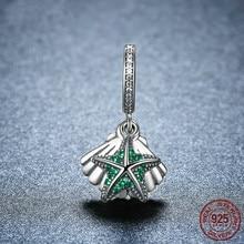 5b441c68e 925 Sterling Silver Tropical Starfish & Sea Shell Dangle Beads Fit Original Pandora  Charm Bracelet &