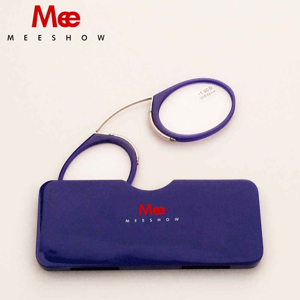 2019 BLUE Nose Resting Reading Glasses +1.0 to +3.5, Portable SOS Wallet Reader clip on Mini  with case pocket reading glasses