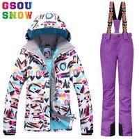 GSOU SNOW Brand Ski Suit Women Ski Jacket Pants Waterproof Snowboard Jacket Pants Winter Outdoor Snow
