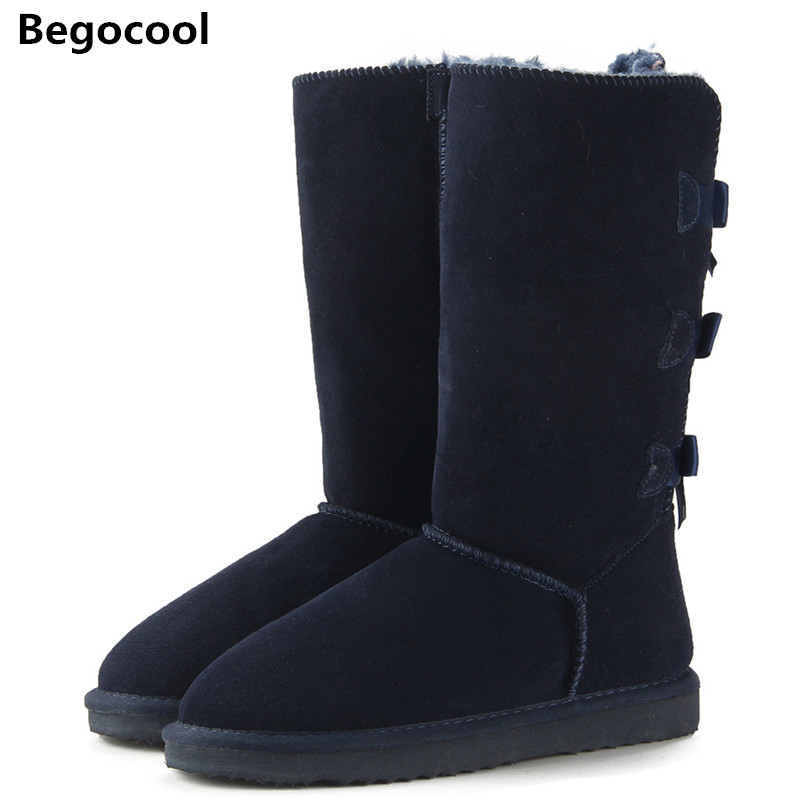 Begocool 2017 Fashion Women Long Boots Genuine cow Leather Snow Boots Bowknot UG Snow Boots Warm High Winter Boots US 3.5-13 goncale high quality band snow boots women fashion genuine leather women s winter boot with black red brown ug womens boots