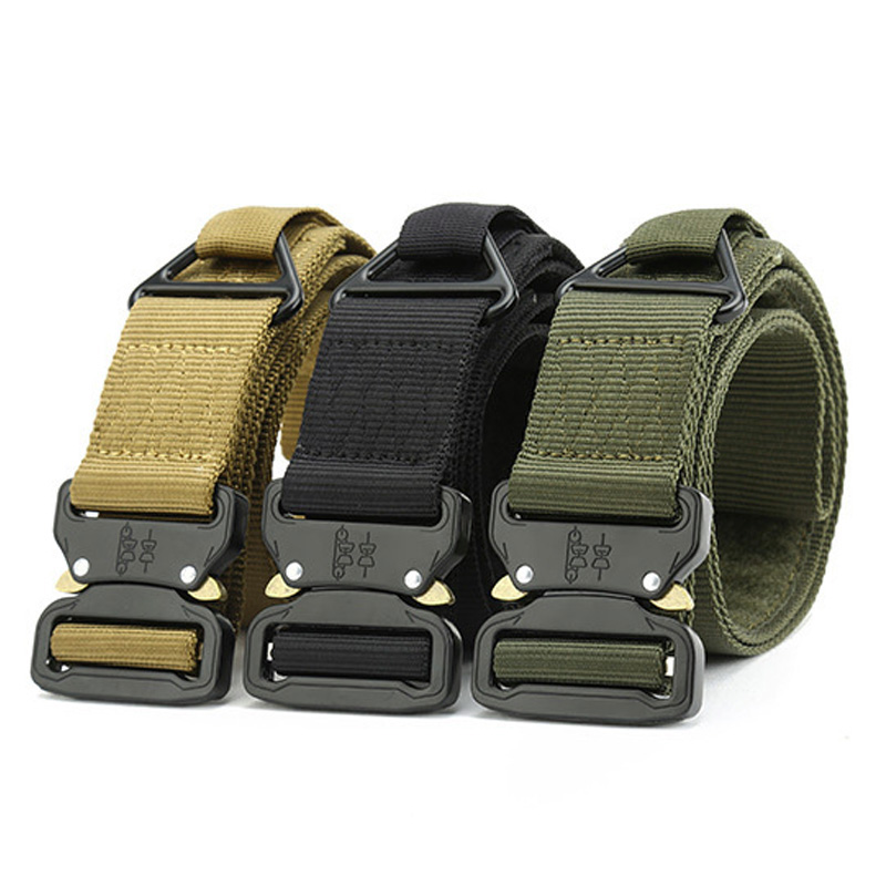 New Style Hunting Tactical Belt Combat CQB Adjustable Waist Belt Thicken Metal Buckle Nylon Belt Army Military Belts multifunction tactical belt men s military belts 125cm length 3 8cm width army fans outdoor training nylon belt with buckle