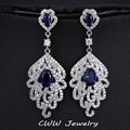 White Gold Plated Cubic Zirconia Simulated Diamond Big Long Earrings Dark Blue Created Gemstone Dangle Earring For Women CZ279