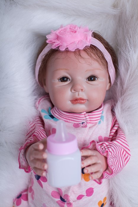 Limited Collection 55cm Soft Silicone Reborn Baby Doll Toy Lifelike Kawaii Newborn Girl Baby-Reborn Play House Toy Birthday Gift baile big man iii телесная насадка реалистик удлиняющая с широким основанием