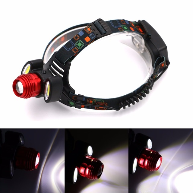 3000lm Waterproof 1*T6+2*COB LED Headlight Fishing Camping Outdoor Lighting Head Lamp 90 Degree Adjustable 4 Modes LED Headlamp