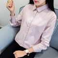 H.SA Women Lace Up Blouses Turn Down Collar Cotton Tops Shirts Long Sleeve OL Ladies Shirts Summer Solid Blusas Mujer Lace Top