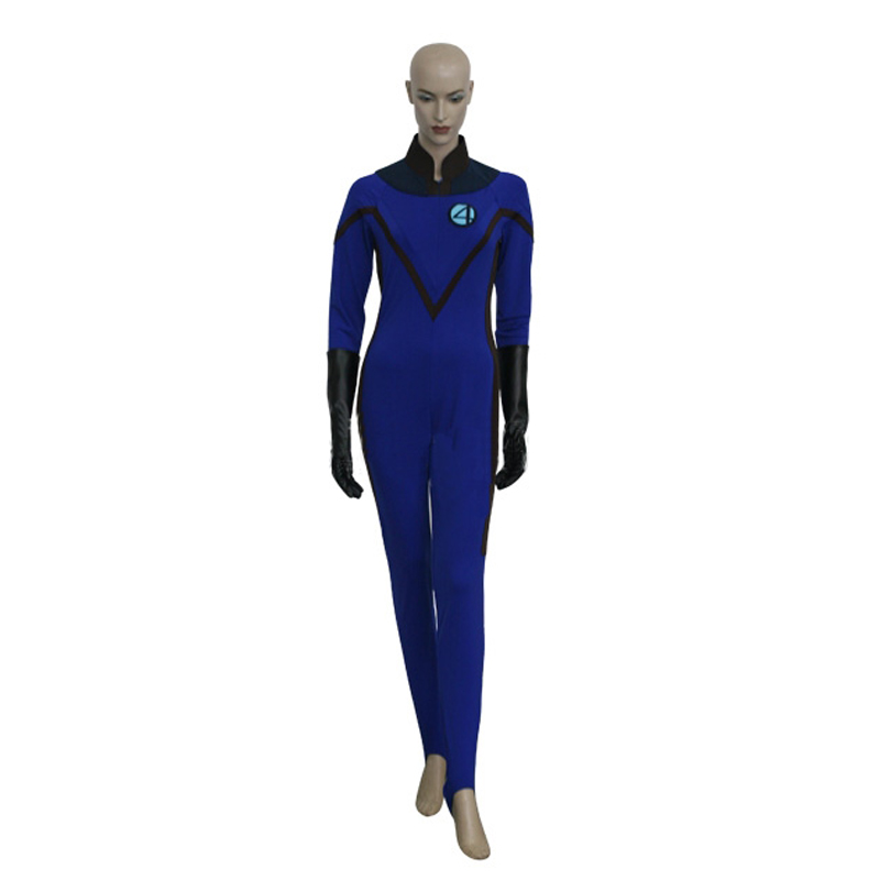 Fantastic 4 Invisible Woman Cosplay Costume Sexy Lady Blue Jumpsuits For Adult Women Halloween Party