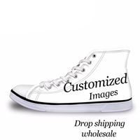NOISYDESIGNS Custom Images or Logo Women High Top Canvas Shoes Classis Lace up Vulcanized Shoes Fashion Students Girls Flat Shoe