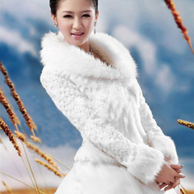 Невесты мыс с длинными рукавами из искусственного меха свадьбы обертывание Кот Зимняя куртка Свадебный шаль болеро