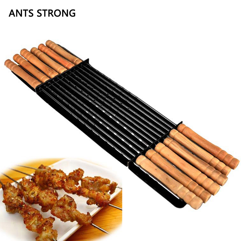 ANTS STRONG 12pcs/set wooden handle BBQ forks/outdoor barbecue pin lamb skewers roast meat fork barbecue tools