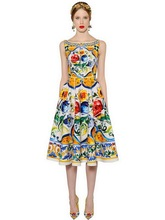 Italy style retro print buttons dress 2018 summer runway floral print vintage dress Fashion A-line sleeveless dress D262