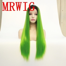 MRWIG 26in150%Density Short Dark Roots Cosplay Synthetic Front Lace Wig for African American Woman