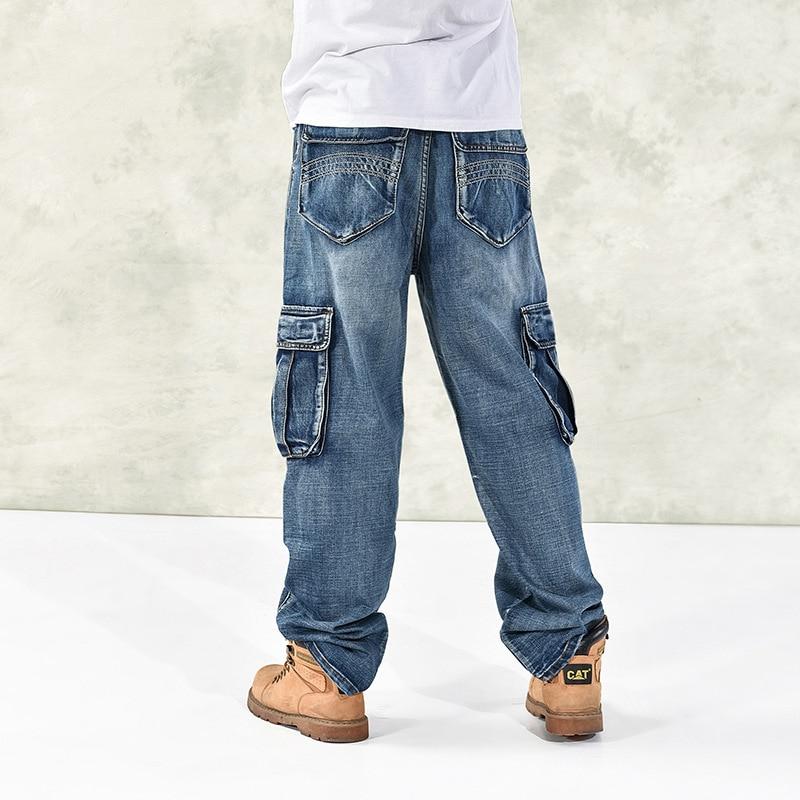 New Fashion Cargo Jeans Men Denim Pants With Many Big Pocket Straight Loose Baggy Harem Hip Hop Skateboard Male Trousers 30-46